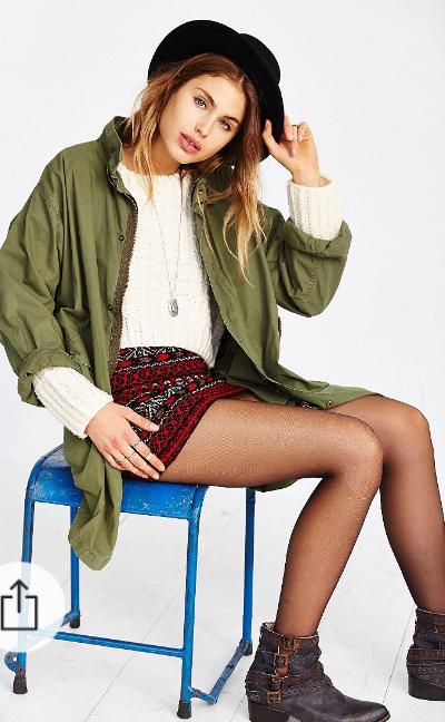 red-mini-skirt-white-sweater-necklace-print-fall-winter-green-olive-jacket-coat-black-shoe-booties-hat-black-tights-hairr-lunch.jpg