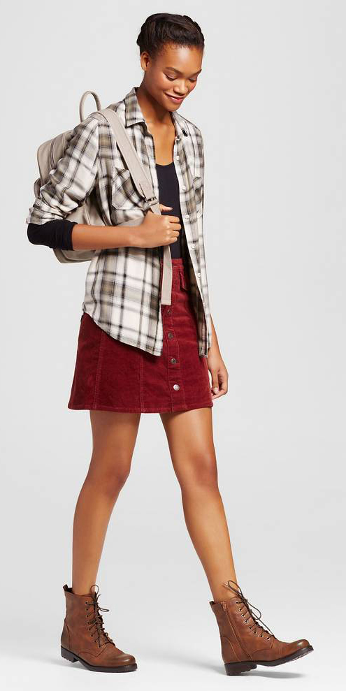 red-mini-skirt-black-tee-white-plaid-shirt-white-bag-pack-wear-style-fashion-fall-winter-plaid-brown-shoe-booties-brun-weekend.jpg