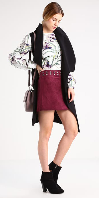 burgundy-mini-skirt-white-top-blouse-print-blonde-pony-black-vest-knit-black-shoe-booties-fall-winter-lunch.jpg