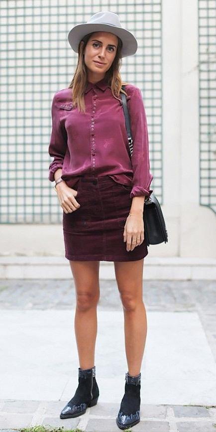 burgundy-mini-skirt-corduroy-burgundy-collared-shirt-hat-black-shoe-booties-fall-winter-hairr-weekend.jpg
