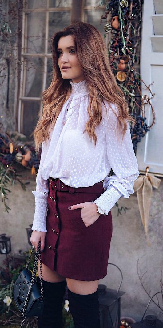 burgundy-mini-skirt-white-top-blouse-peasant-black-bag-black-shoe-boots-otk-fall-winter-hairr-lunch.jpg
