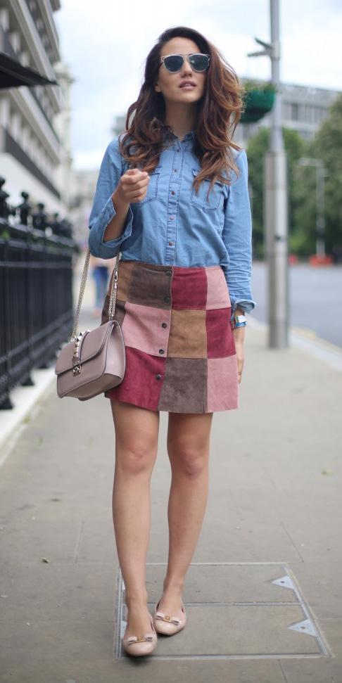 burgundy-mini-skirt-blue-light-collared-shirt-patchwork-chambray-tan-shoe-flats-spring-summer-hairr-lunch.jpg