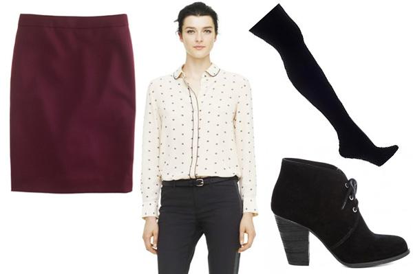 r-burgundy-mini-skirt-white-top-blouse-wear-style-fashion-fall-winter-black-tights-black-shoe-booties-brun-work.jpg