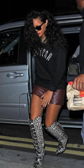 burgundy-mini-skirt-gray-shoe-boots-snakeskin-black-sweater-sweatshirt-necklace-brun-sun-rihanna-fall-winter-dinner.jpeg