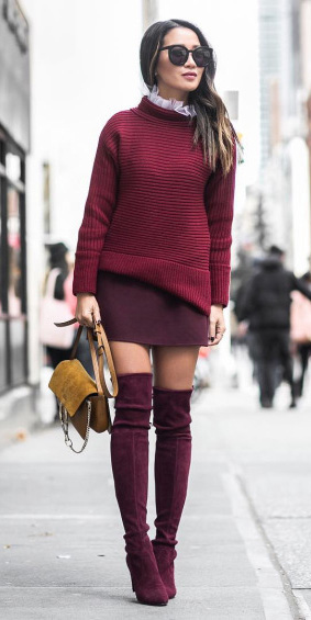 burgundy-mini-skirt-burgundy-sweater-tan-bag-burgundy-shoe-boots-otk-mono-fall-winter-brun-lunch.jpg