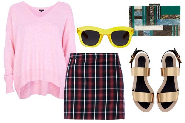 r-burgundy-mini-skirt-r-pink-light-sweater-sun-green-bag-clutch-plaid-wear-style-fashion-fall-winter-gold-tan-shoe-sandals-lunch.jpg