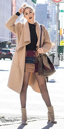 burgundy-mini-skirt-patchwork-black-tee-tan-cardiganl-bun-blonde-black-tights-tan-shoe-booties-brown-bag-fall-winter-lunch.jpg