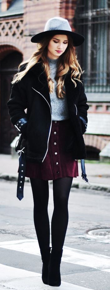 r-burgundy-mini-skirt-grayl-sweater-black-shoe-booties-howtowear-fashion-style-outfit-fall-winter-button-black-jacket-coat-hat-black-tights-hairr-lunch.jpg