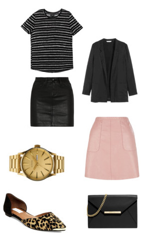 black-mini-skirt-pink-light-mini-skirt-black-tee-stripe-wear-style-fashion-fall-winter-leopard-black-jacket-blazer-watch-tan-shoe-flats-black-bag-lunch.jpg