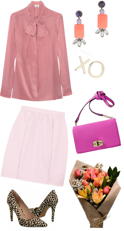 pink-light-mini-skirt-pink-light-top-blouse-bow-pink-bag-earrings-tan-shoe-pumps-leopard-print-tonal-howtowear-valentinesday-outfit-fall-winter-dinner.jpg