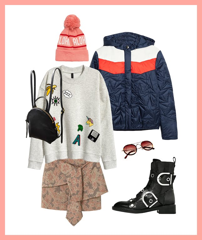 pink-light-mini-skirt-grayl-sweater-sweatshirt-blue-navy-jacket-puffer-black-shoe-booties-sun-beanie-black-bag-pack-fall-winter-weekend.jpg