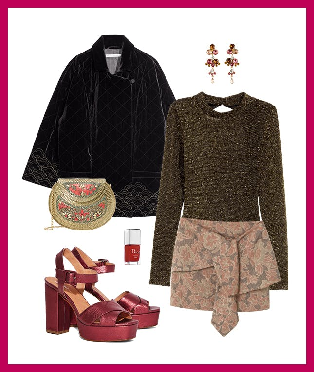 pink-light-mini-skirt-green-olive-sweater-party-earrings-black-jacket-coat-tan-bag-gold-nail-burgundy-shoe-sandalh-platforms-fall-winter-dinner.jpg