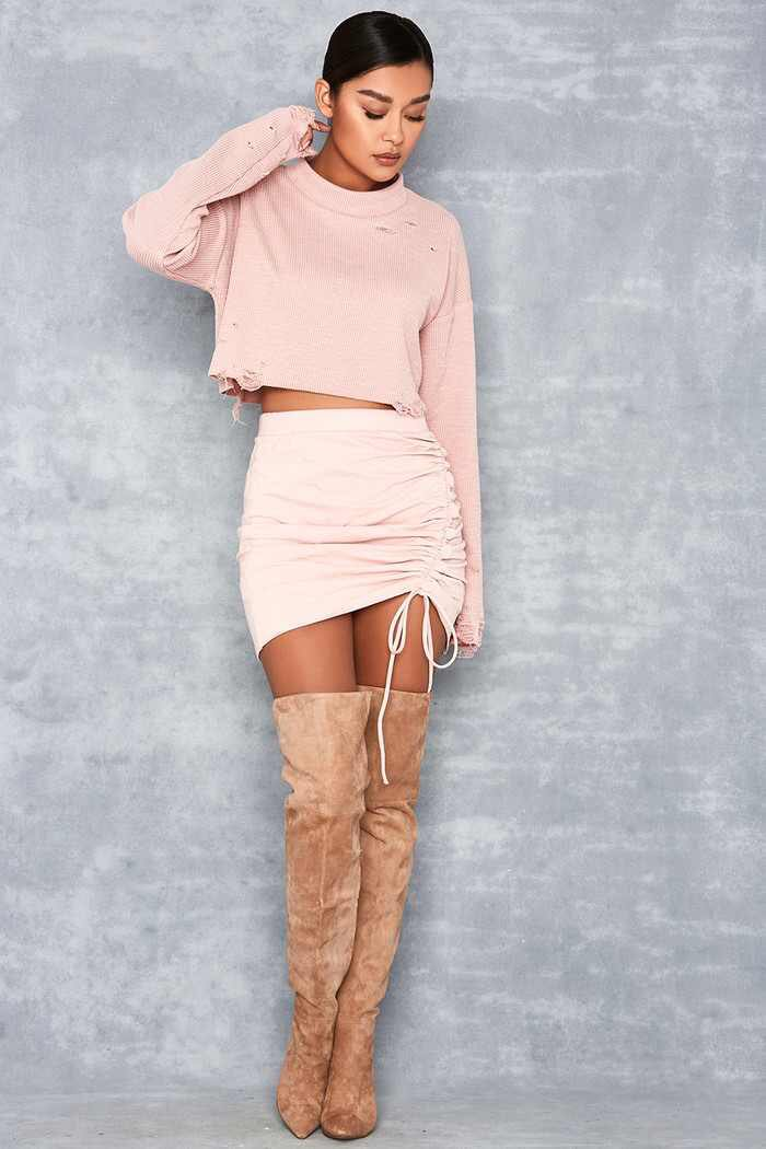 pink-light-mini-skirt-pink-light-sweater-tan-shoe-boots-otk-bun-fall-winter-brun-dinner.jpg