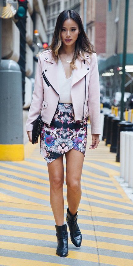 pink-light-mini-skirt-print-jamiechungstyle-brun-white-top-blouse-black-shoe-booties-pink-light-jacket-moto-fall-winter-dinner.jpg