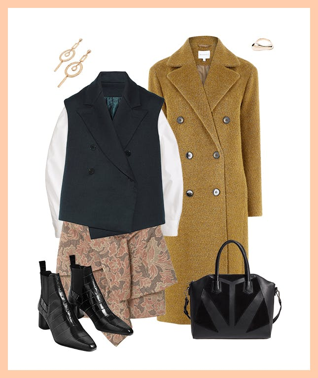 pink-light-mini-skirt-white-top-blouse-black-vest-tailor-black-shoe-booties-black-bag-yellow-jacket-coat-earrings-fall-winter-work.jpg