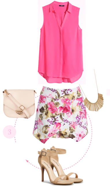 r-pink-magenta-mini-skirt-r-pink-magenta-top-blouse-floral-print-necklace-bib-white-bag-tan-shoe-sandalh-howtowear-fashion-spring-summer-style-outfit-lunch.jpg
