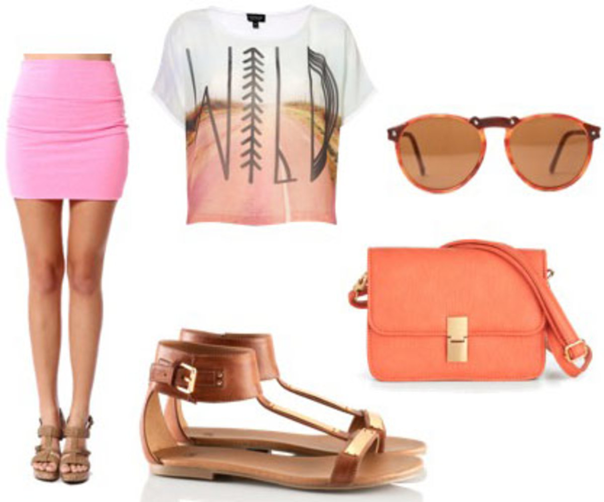 pink-magenta-mini-skirt-white-graphic-tee-orange-bag-cognac-shoe-sandals-sun-spring-summer-weekend.jpg