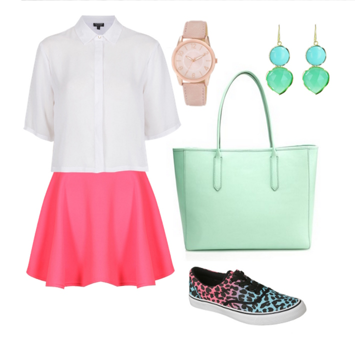 r-pink-magenta-mini-skirt-white-collared-shirt-green-bag-tote-watch-earrings-blue-shoe-sneakers-vans-skater-howtowear-fashion-style-spring-summer-outfit-lunch.jpeg