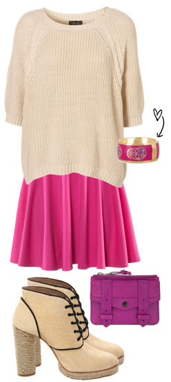 r-pink-magenta-mini-skirt-tan-sweater-tan-shoe-booties-purple-bag-bracelet-howtowear-fashion-style-outfit-spring-summer-lunch.jpg