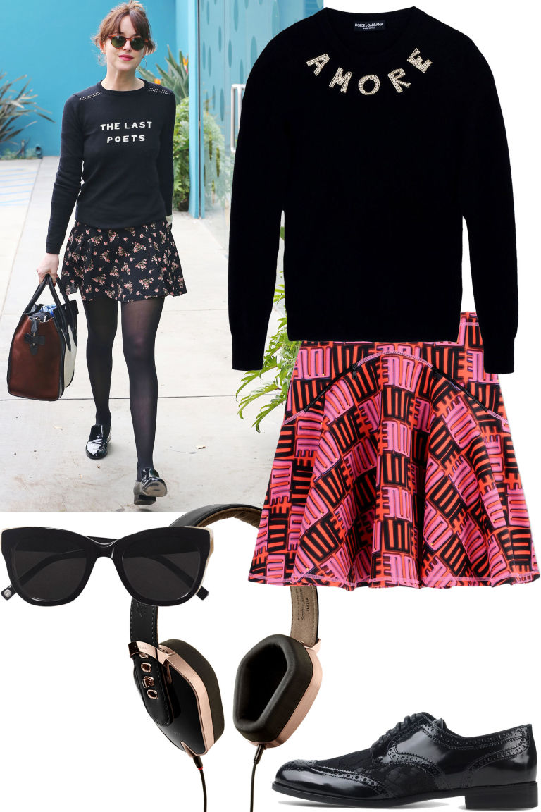 r-pink-magenta-mini-skirt-black-sweater-sweatshirt-sun-wear-style-fashion-fall-winter-graphic-print-black-shoe-brogues-black-tights-travel-outfit-weekend.jpg