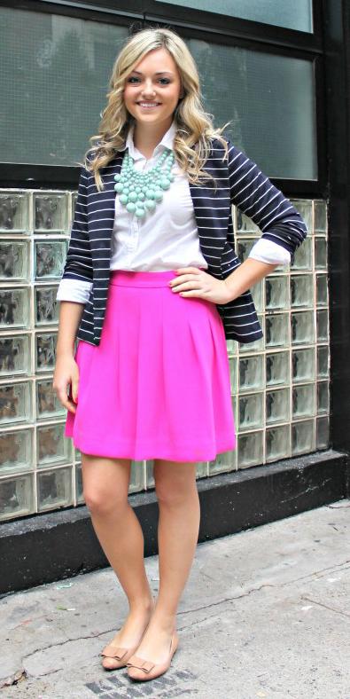 pink-magenta-mini-skirt-white-collared-shirt-bib-necklace-blue-navy-jacket-blazer-blonde-tan-shoe-flats-spring-summer-work.jpg