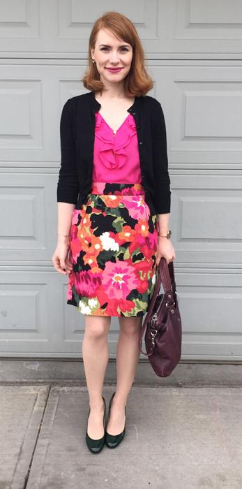 pink-magenta-mini-skirt-print-floral-pink-magenta-top-blouse-black-cardigan-hairr-black-shoe-pumps-spring-summer-work.jpg