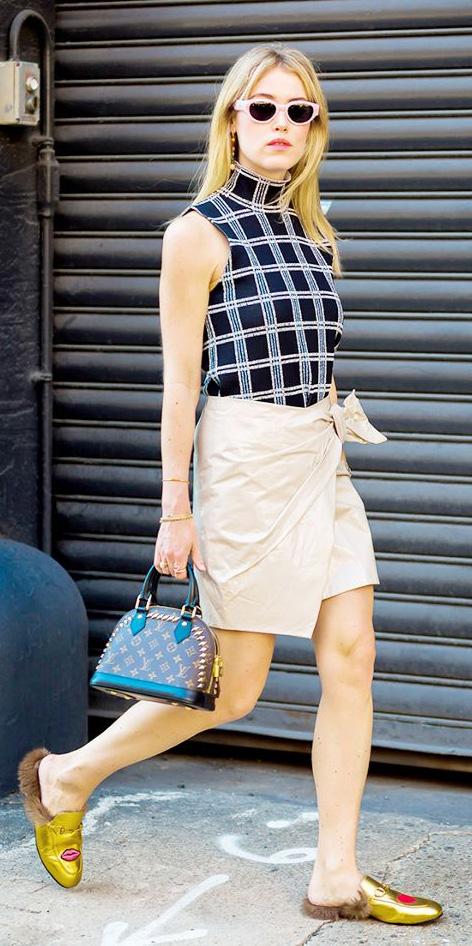 tan-mini-skirt-wrap-black-top-print-sun-yellow-shoe-flats-gold-spring-summer-blonde-lunch.jpg