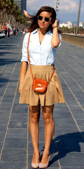 tan-mini-skirt-blue-light-collared-shirt-orange-bag-sun-tan-shoe-pumps-spring-summer-hairr-lunch.jpg