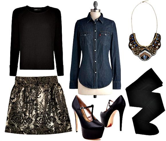 tan-mini-skirt-gold-blue-navy-collared-shirt-chambray-layer-black-sweater-black-shoe-pumps-black-tights-necklace-fall-winter-dinner.jpg