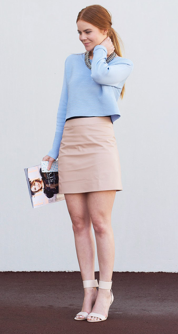 o-tan-mini-skirt-blue-light-sweater-necklace-tan-shoe-sandalh-pony-howtowear-fashion-style-outfit-spring-summer-hairr-dinner.jpg
