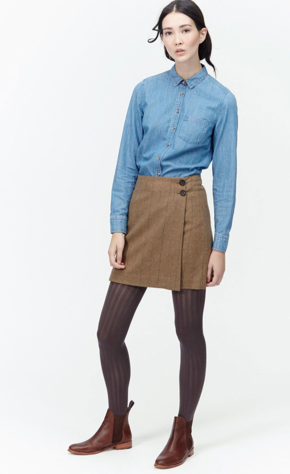 o-tan-mini-skirt-blue-light-collared-shirt-pony-brown-shoe-booties-wear-style-fashion-fall-winter-chambray-brown-tights-brun-work.jpg