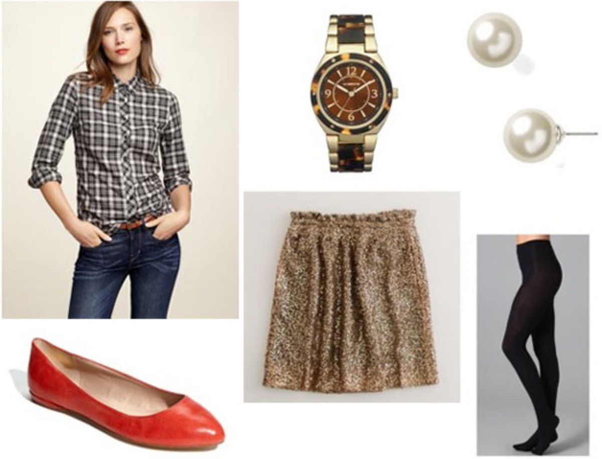 o-tan-mini-skirt-green-olive-plaid-shirt-black-tights-red-shoe-flats-watch-pearl-studs-howtowear-fashion-style-fall-winter-outfit-lunch.jpg