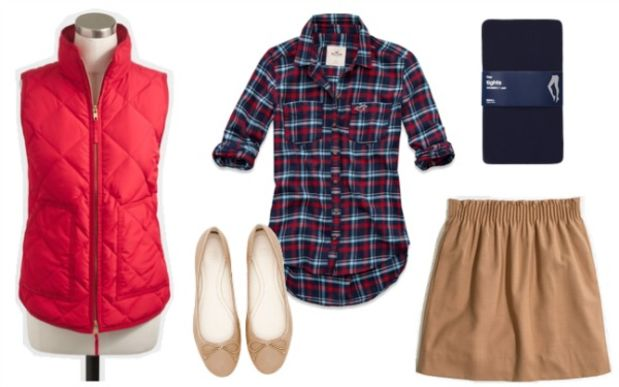 o-tan-mini-skirt-red-plaid-shirt-red-vest-puffer-blue-tights-howtowear-fashion-style-outfit-fall-winter-tan-shoe-flats-lunch.jpg