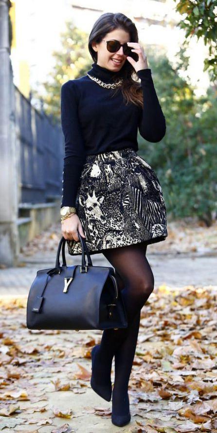 tan-mini-skirt-print-black-sweater-turtleneck-chain-necklace-black-bag-black-tights-black-shoe-pumps-fall-winter-brun-lunch.jpg