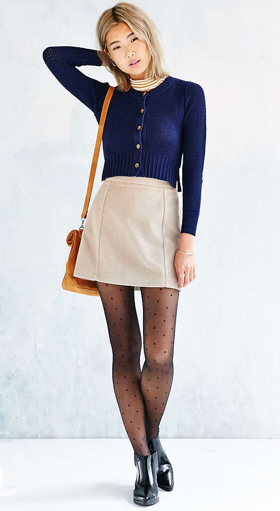 tan-mini-skirt-o-camel-tee-stripe-turtleneck-cognac-bag-dot-black-shoe-booties-wear-style-fashion-fall-winter-black-tights-blue-navy-cardigan-blonde-lunch.jpg