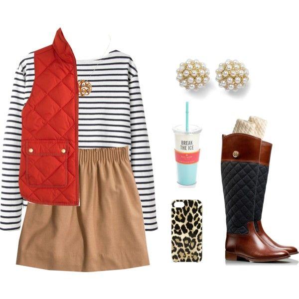 tan-mini-skirt-black-tee-stripe-red-vest-puffer-brown-shoe-boots-socks-studs-pearl-fall-winter-weekend.jpg