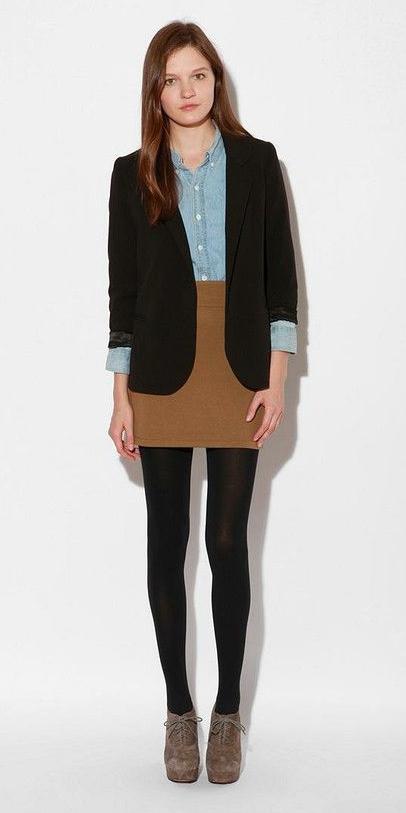 o-tan-mini-skirt-blue-light-collared-shirt-black-jacket-blazer-wear-style-fashion-fall-winter-black-tights-tan-shoe-booties-office-hairr-work.jpg