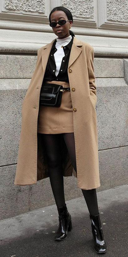 tan-mini-skirt-white-tee-turtleneck-layer-black-collared-shirt-black-bag-fannypack-brun-pony-sun-tan-jacket-coat-black-tights-black-shoe-booties-fall-winter-lunch.jpg