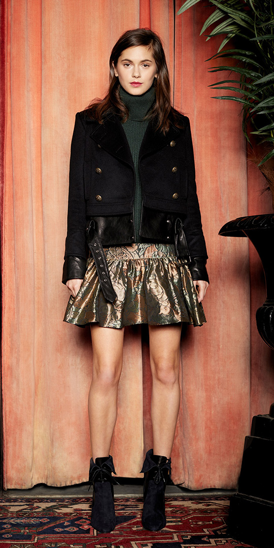 tan-mini-skirt-gold-green-dark-sweater-turtleneck-black-jacket-moto-black-shoe-booties-fall-winter-hairr-lunch.jpg