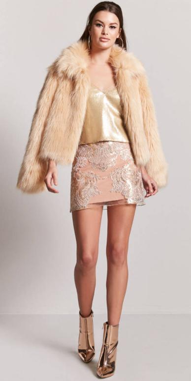 tan-mini-skirt-tan-jacket-coat-fur-fuzz-tan-cami-tan-shoe-booties-hoops-mono-yellow-cami-gold-fall-winter-hairr-dinner.jpg