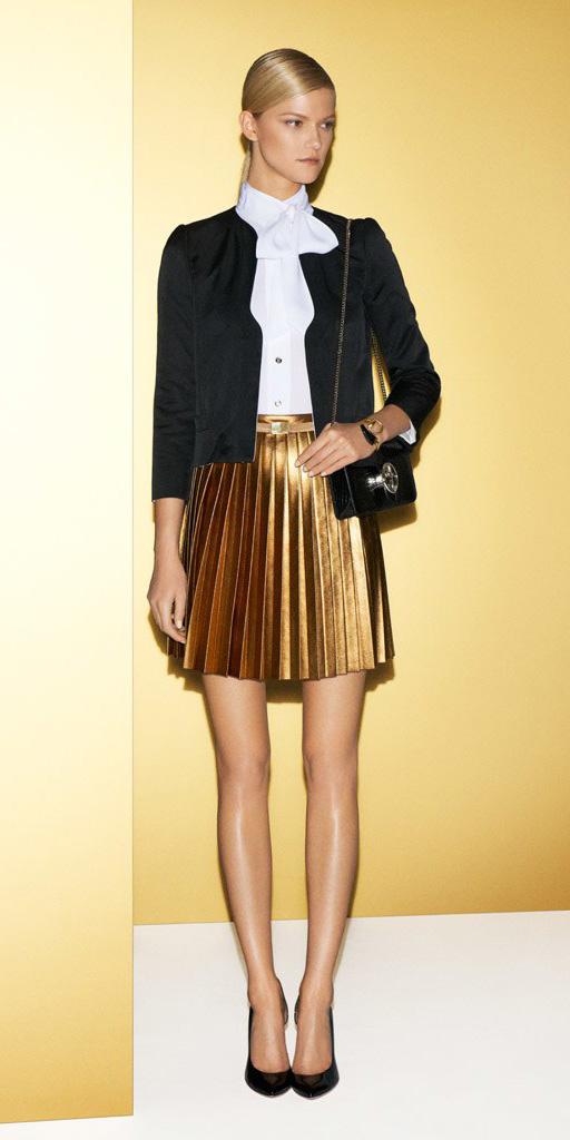 tan-mini-skirt-gold-pleated-white-top-blouse-black-jacket-black-bag-pony-black-shoe-pumps-fall-winter-blonde-dinner.jpg