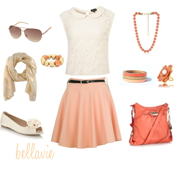 o-peach-mini-skirt-belt-white-top-lace-orange-bag-necklace-bracelet-tan-scarf-white-shoe-flats-sun-howtowear-fashion-style-outfit-spring-summer-lunch.jpg