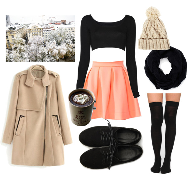 o-peach-mini-skirt-black-top-crop-tan-jacket-coat-howtowear-fashion-style-outfit-fall-winter-black-scarf-black-shoe-brogues-socks-beanie-lunch.jpg