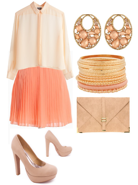 o-peach-mini-skirt-o-peach-top-blouse-tan-shoe-pumps-tan-bag-bracelet-earrings-pleat-howtowear-fashion-style-outfit-spring-summer-lunch.jpg