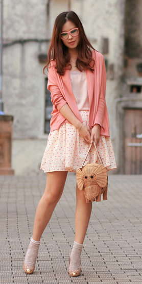 peach-mini-skirt-peach-cami-peach-cardigan-socks-tan-shoe-pumps-tan-bag-hairr-spring-summer-lunch.jpg