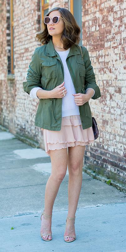 peach-mini-skirt-white-sweater-hairr-sun-green-olive-jacket-utility-tan-shoe-sandalh-spring-summer-lunch.jpg