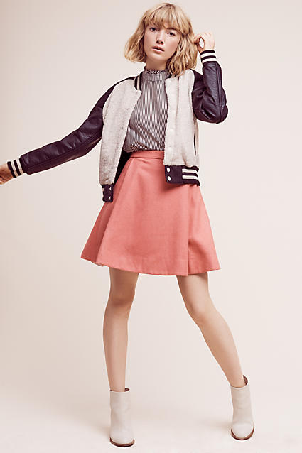 o-peach-mini-skirt-blue-navy-top-stripe-wear-style-fashion-fall-winter-white-jacket-bomber-white-shoe-booties-blonde-lunch.jpg
