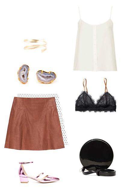 o-camel-mini-skirt-white-cami-black-bralette-studs-bracelet-black-bag-party-pink-shoe-pumps-metallic-howtowear-fashion-style-outfit-spring-summer-dinner.jpg