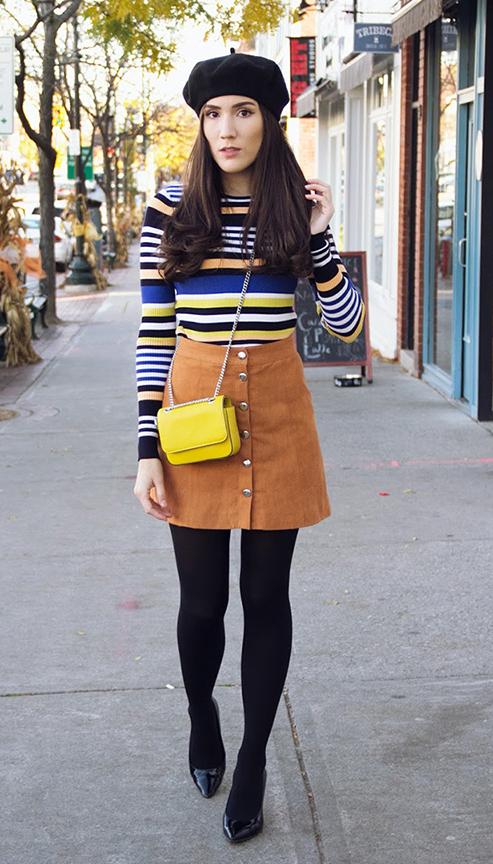 camel-mini-skirt-black-top-stripe-fall-winter-black-shoe-pumps-yellow-bag-black-tights-beret-hat-brun-lunch.jpg
