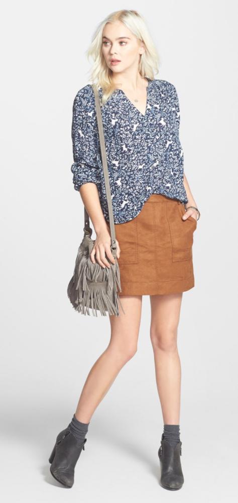 camel-mini-skirt-blue-med-top-blouse-gray-bag-socks-gray-shoe-booties-wear-style-fashion-fall-winter-print-fringe-blonde-lunch.jpg